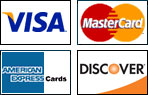 We accept Visa, Mastercard, American Express and Discover.